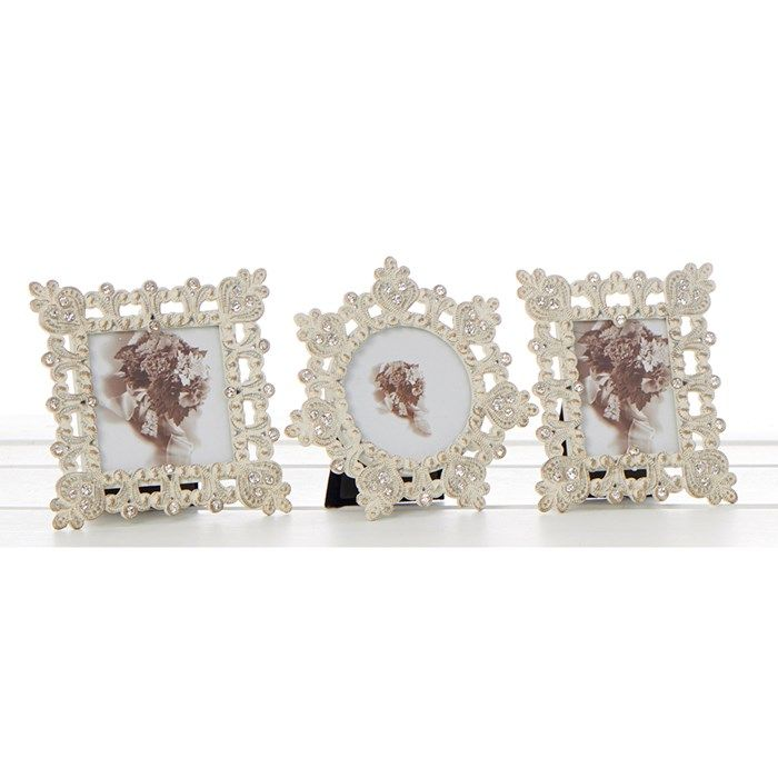 Set Of 3 Old Cream Filigree Mini Frame 2x2
